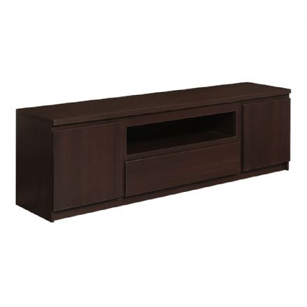 Pello 136 Cm 2 Door 1 Drawer TV Cabinet in Dark Mahogany